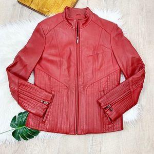 Wilson's Leather Red Leather Mock Neck Jacket Coat